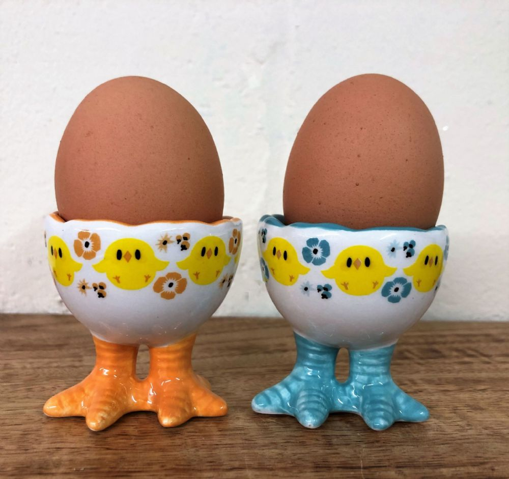 Chicken Feet Ceramic Chick Easter Egg Cups Set of 2